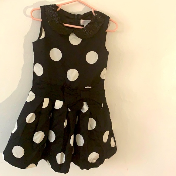 Children's Place Black Dress with Polka Dot size 4